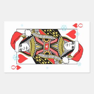 Merry Christmas Queen of Hearts Rectangular Sticker