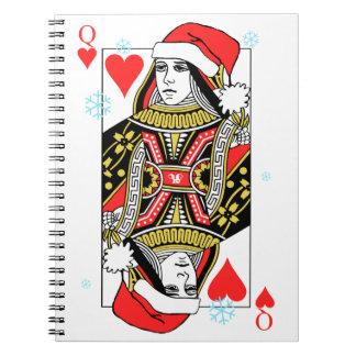 Merry Christmas Queen of Hearts Spiral Notebook