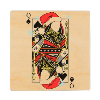 Merry Christmas Queen of Spades - Add Your Images Maple Wood Coaster