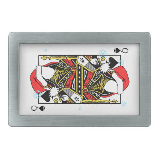 Merry Christmas Queen of Spades - Add Your Images Rectangular Belt Buckles
