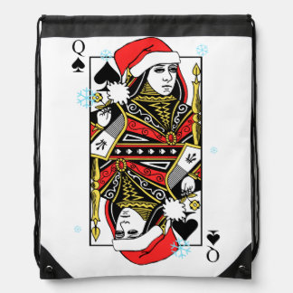 Merry Christmas Queen of Spades Drawstring Bag