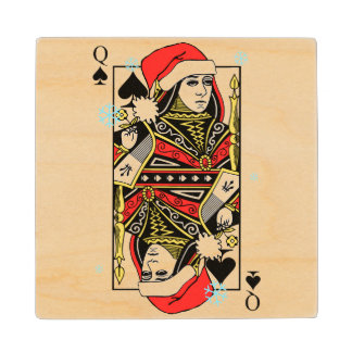Merry Christmas Queen of Spades Maple Wood Coaster