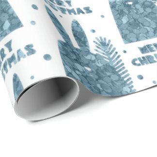 Merry Christmas Rabbit Gray Blue Sequin White Wrapping Paper