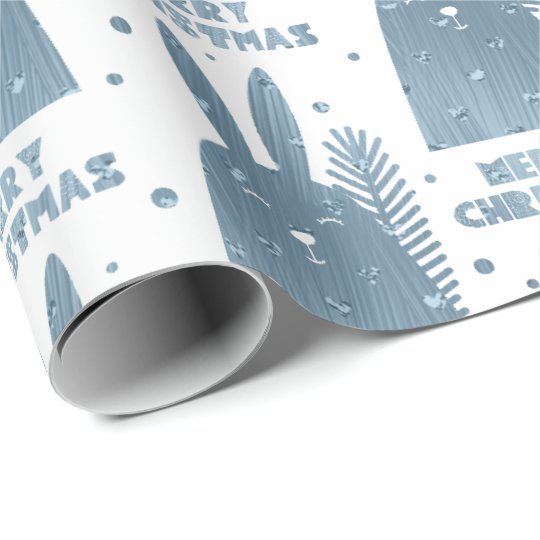 Merry Christmas Rabbit Grey Blue Metallic White Wrapping Paper