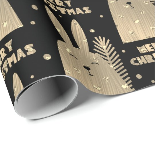 Merry Christmas Rabbit Sepia Gold Metallic Black Wrapping Paper