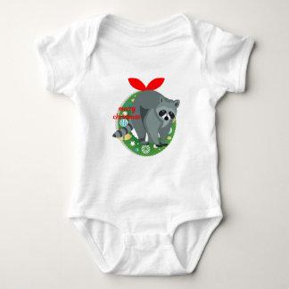 merry christmas raccoon baby bodysuit