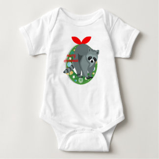 merry christmas raccoon baby bodysuit