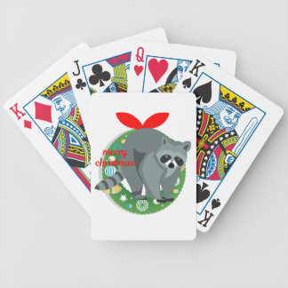 merry christmas raccoon bicycle playing cards