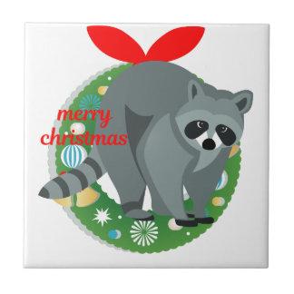 merry christmas raccoon ceramic tile