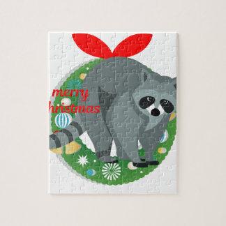 merry christmas raccoon jigsaw puzzle