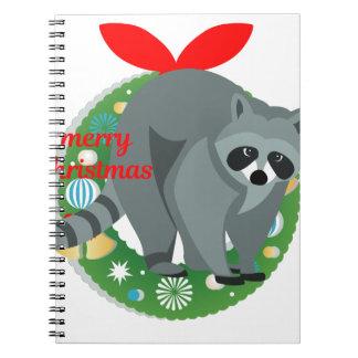 merry christmas raccoon notebook