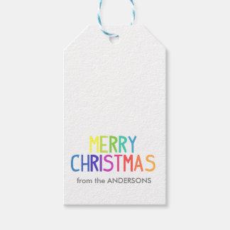 Merry Christmas rainbow script Gift Tags