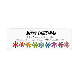 Merry Christmas Rainbow snowflakes Return Address Label