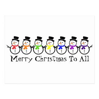 Merry Christmas Rainbow Snowmen Postcard