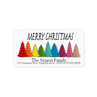 Merry Christmas Rainbow trees holiday label