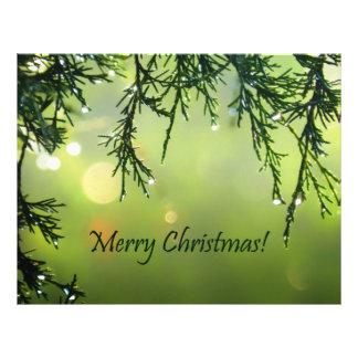 Merry Christmas Raindrops on Evergreen Tree 21.5 Cm X 28 Cm Flyer