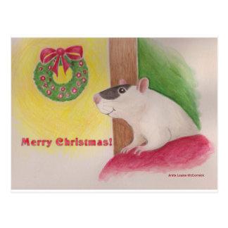 Merry Christmas Rat Post Card