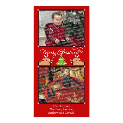 Merry Christmas Red (Add Your Photos and Text) Photo Card