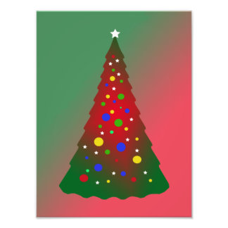 Merry Christmas Red and Green Christmas Tree Photographic Print