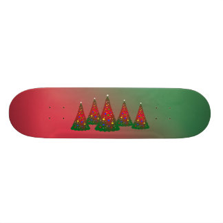 Merry Christmas: Red and Green Christmas Tree Custom Skate Board