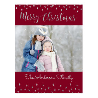Merry Christmas Red and Silver Foil Stars Photo Postcard