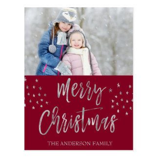 Merry Christmas Red and Silver Watercolor Photo Postcard