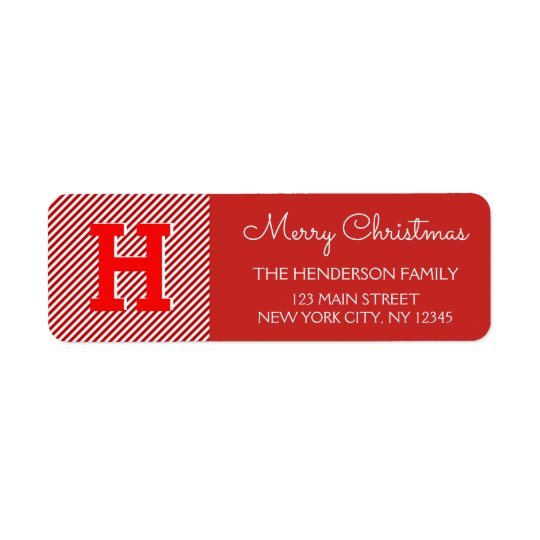 Merry Christmas Red and White Stripe Holiday Return Address Label