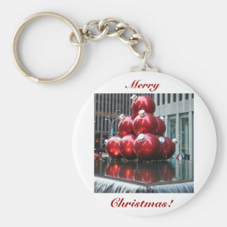 Merry Christmas!  Red Balls Basic Round Button Key Ring