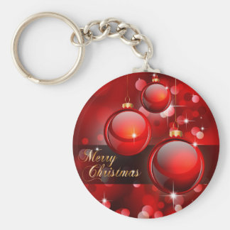 Merry Christmas Red Baubles Basic Round Button Key Ring