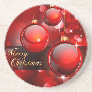 Merry Christmas Red Baubles Coaster