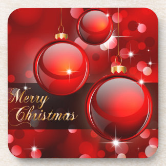 Merry Christmas Red Baubles Drink Coasters