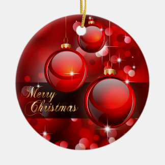 Merry Christmas Red Baubles Round Ceramic Decoration