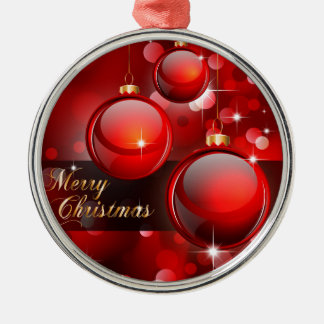Merry Christmas Red Baubles Silver-Colored Round Decoration