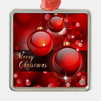 Merry Christmas Red Baubles Silver-Colored Square Decoration