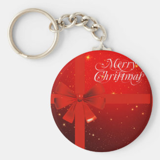 Merry christmas red bow basic round button key ring