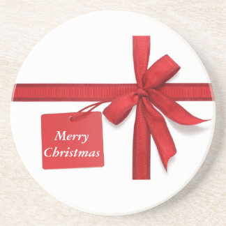 Merry Christmas Red Bow Coaster