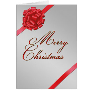 Merry Christmas Red Bow - Greeting Card