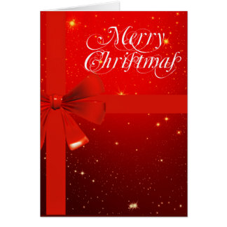 Merry christmas red bow greeting card