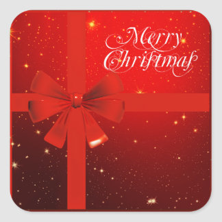 Merry christmas red bow square sticker