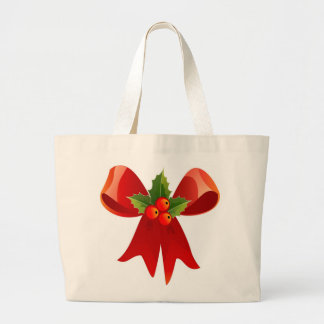 MERRY CHRISTMAS RED BOW TOTE BAG