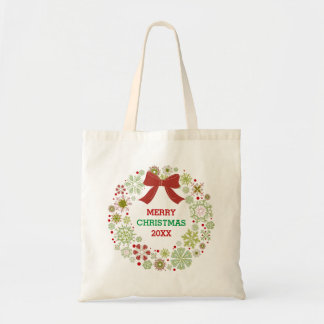 Merry Christmas Red Bow Wreath Budget Tote Bag