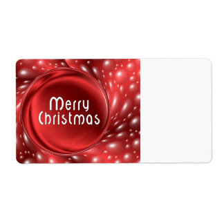 Merry Christmas Red Bubbles Shipping Label