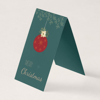 Merry Christmas, red bulb with white poinsettia Card
