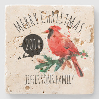 Merry Christmas-Red Cardinal & Mistletoe Stone Coaster