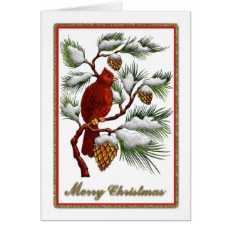 Merry Christmas - Red Cardinal with Pine Cones Card