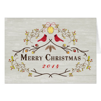 Merry Christmas Red Cardinals and Branches Card 14