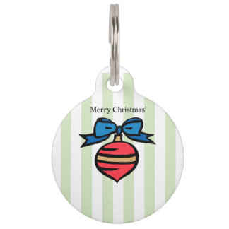 Merry Christmas Red Christmas Ornament Pet Tag GRN