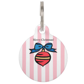Merry Christmas Red Christmas Ornament Pet Tag PNK
