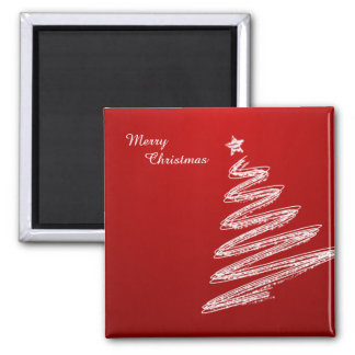 Merry Christmas Red Christmas Tree Magnet