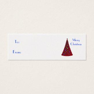 Merry Christmas, red Christmas tree Mini Business Card